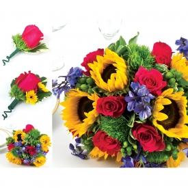 Pachet Floral Nunta Floarea Soarelui Si Trandafiri Cu Livrare